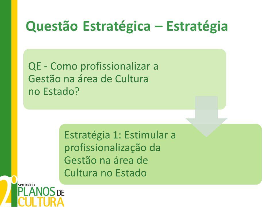 Questão Estratégica – Estratégia QE - Como profissionalizar a Gestão na área de Cultura no Estado? Estratégia 1: Estimular a profissionalização da Ges