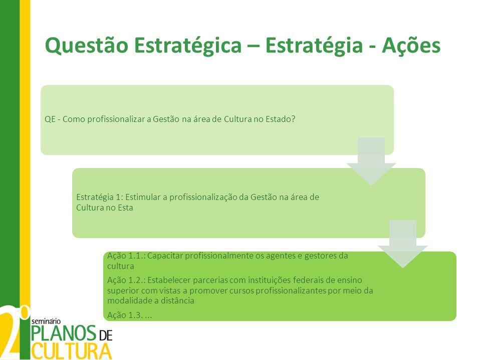 Questão Estratégica – Estratégia - Ações QE - Como profissionalizar a Gestão na área de Cultura no Estado? Estratégia 1: Estimular a profissionalizaçã