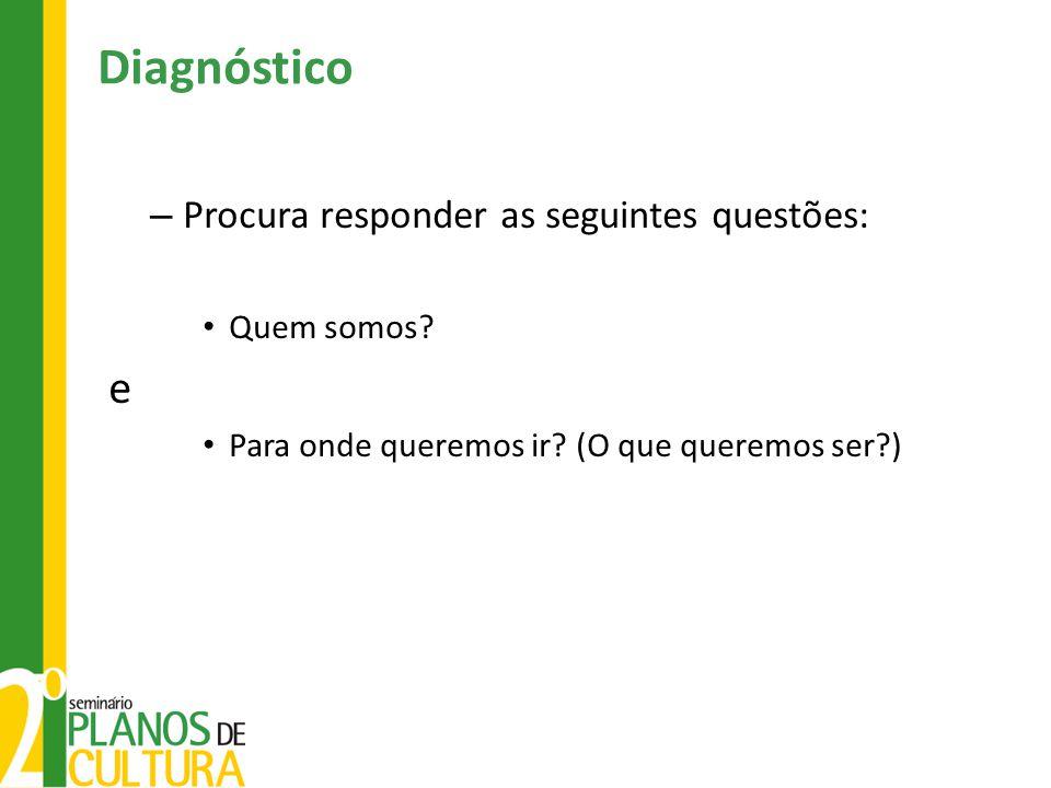 Diagnóstico – Procura responder as seguintes questões: • Quem somos? e • Para onde queremos ir? (O que queremos ser?)