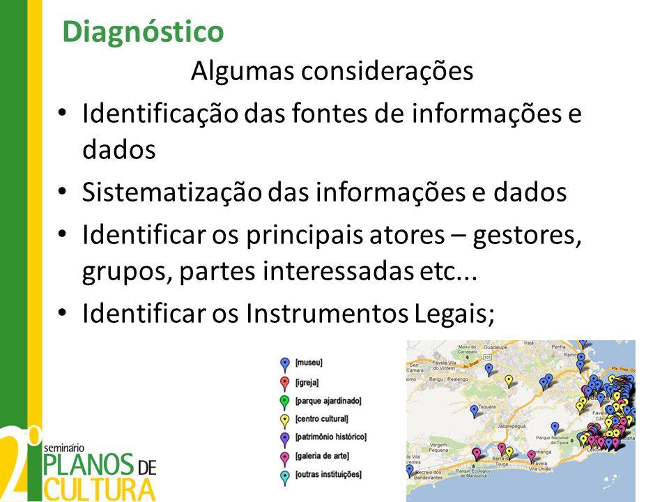 Diagnóstico Algumas considerações • Identificação das fontes de informações e dados • Sistematização das informações e dados • Identificar os principa