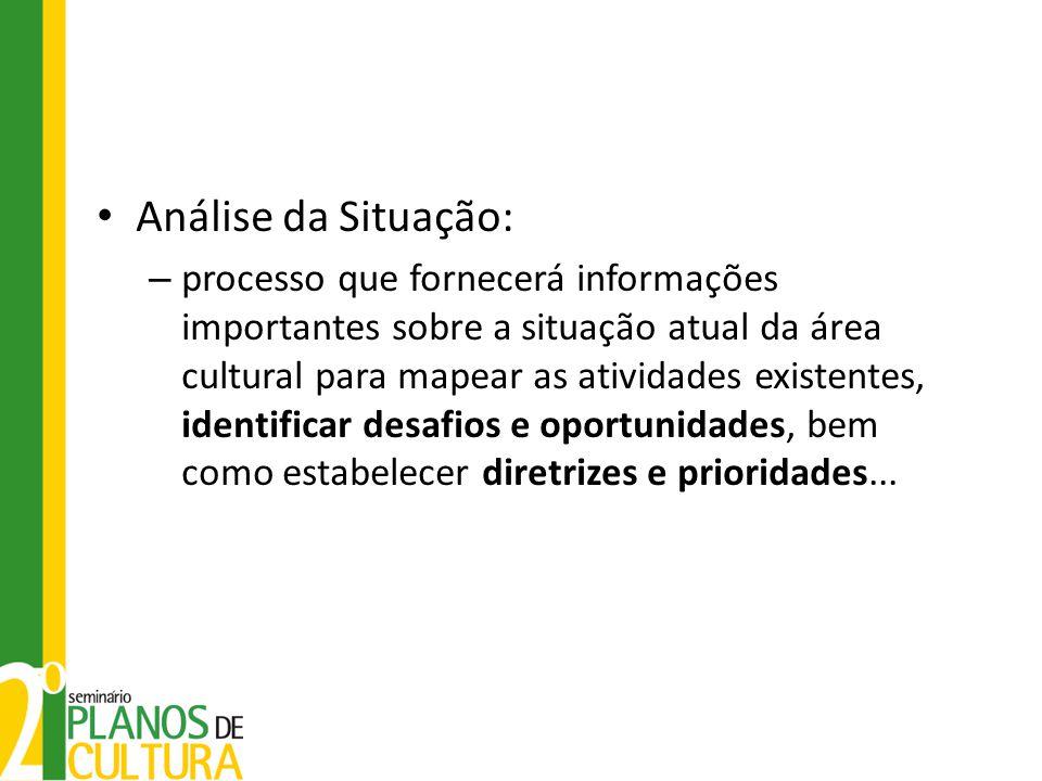 • Análise da Situação: – processo que fornecerá informações importantes sobre a situação atual da área cultural para mapear as atividades existentes,
