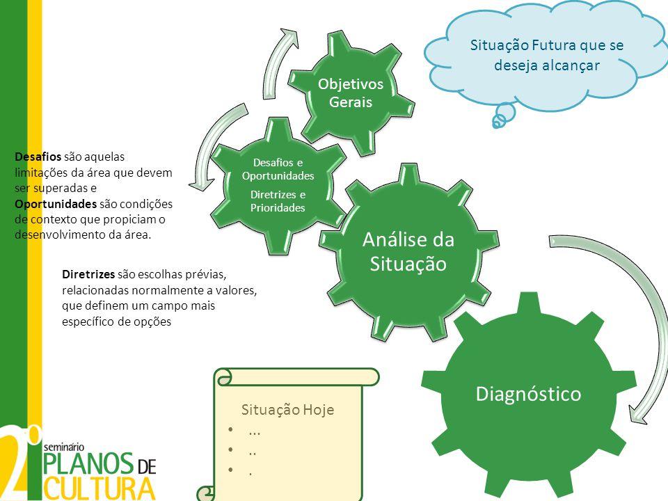 Análise da Situação Desafios e Oportunidades Diretrizes e Prioridades Objetivos Gerais Diagnóstico Situação Futura que se deseja alcançar Situação Hoj