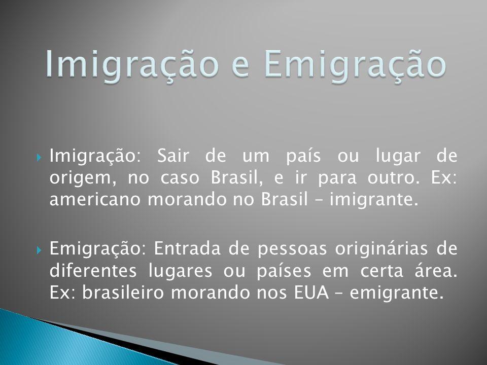  Imigração: Sair de um país ou lugar de origem, no caso Brasil, e ir para outro.
