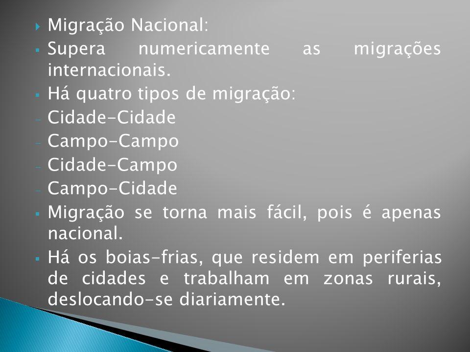  Migração Nacional:  Supera numericamente as migrações internacionais.