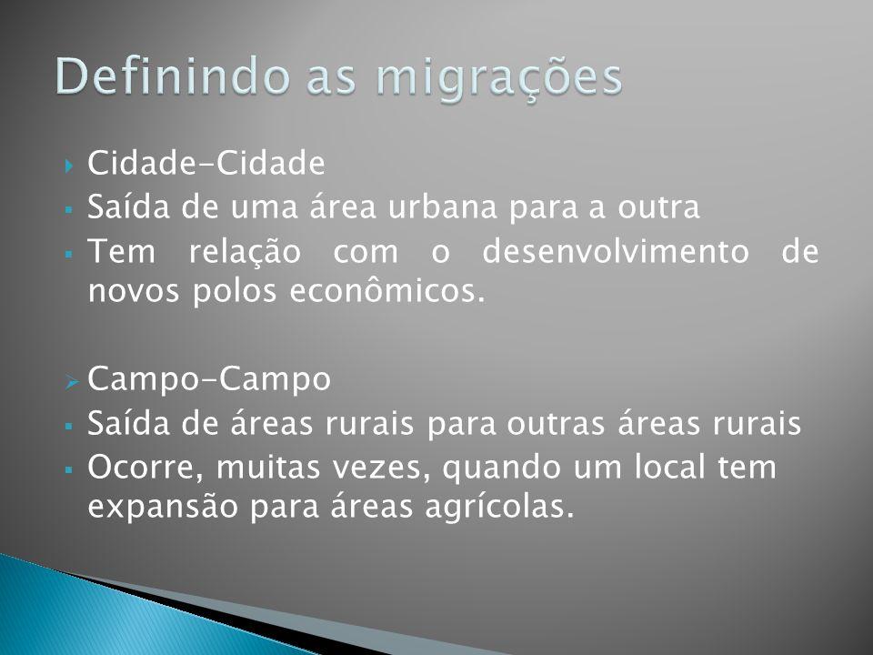  Cidade-Cidade  Saída de uma área urbana para a outra  Tem relação com o desenvolvimento de novos polos econômicos.