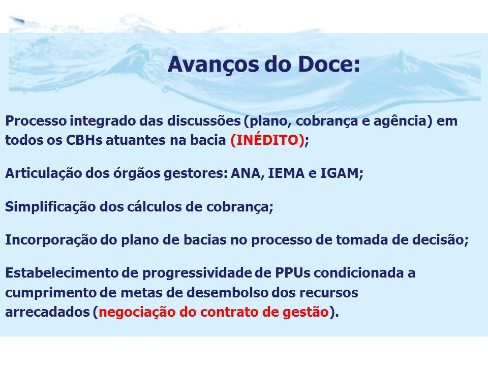 Avanços do Doce: Processo integrado das discussões (plano, cobrança e agência) em todos os CBHs atuantes na bacia (INÉDITO); Articulação dos órgãos gestores: ANA, IEMA e IGAM; Simplificação dos cálculos de cobrança; Incorporação do plano de bacias no processo de tomada de decisão; Estabelecimento de progressividade de PPUs condicionada a cumprimento de metas de desembolso dos recursos arrecadados (negociação do contrato de gestão).