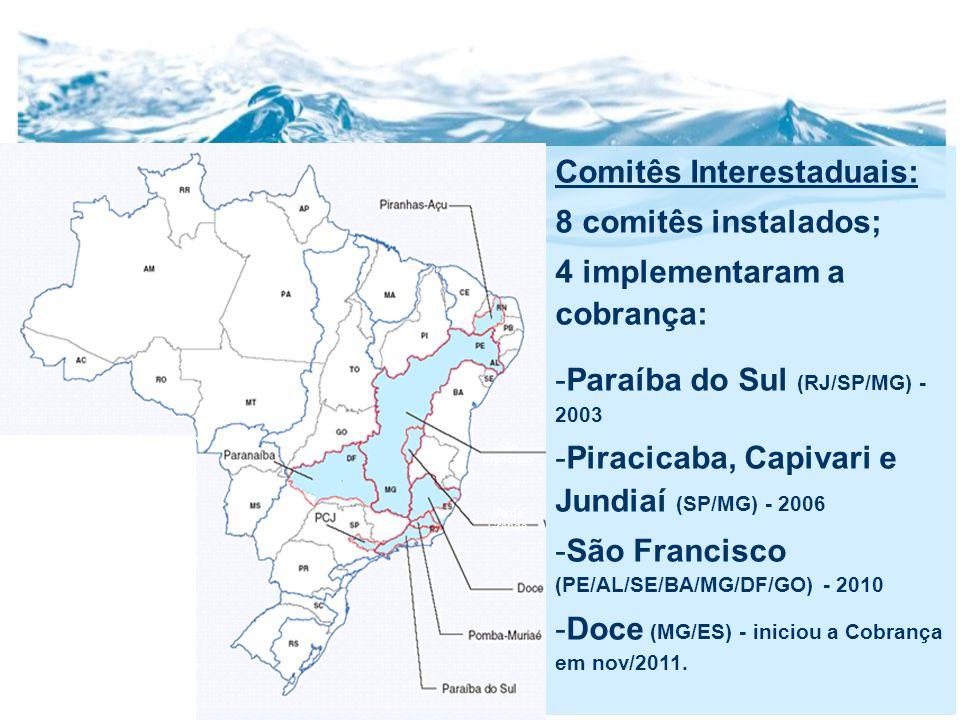 Comitês Interestaduais: 8 comitês instalados; 4 implementaram a cobrança: -Paraíba do Sul (RJ/SP/MG) - 2003 -Piracicaba, Capivari e Jundiaí (SP/MG) - 2006 -São Francisco (PE/AL/SE/BA/MG/DF/GO) - 2010 -Doce (MG/ES) - iniciou a Cobrança em nov/2011.