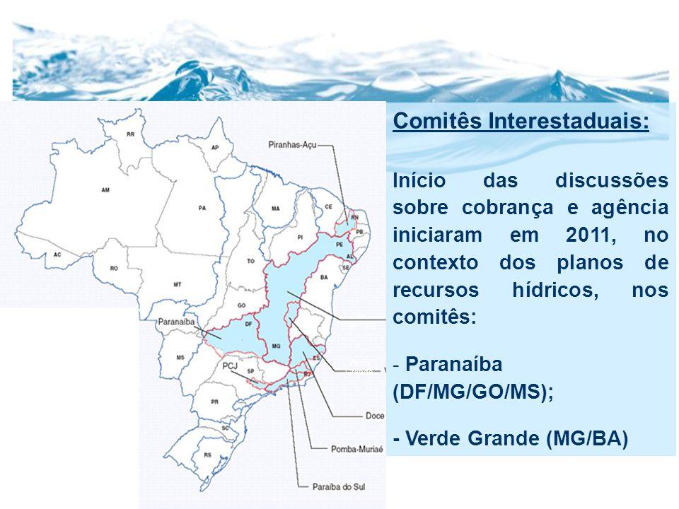 Comitês Interestaduais: Início das discussões sobre cobrança e agência iniciaram em 2011, no contexto dos planos de recursos hídricos, nos comitês: - Paranaíba (DF/MG/GO/MS); - Verde Grande (MG/BA) São Francisco Verde Grande