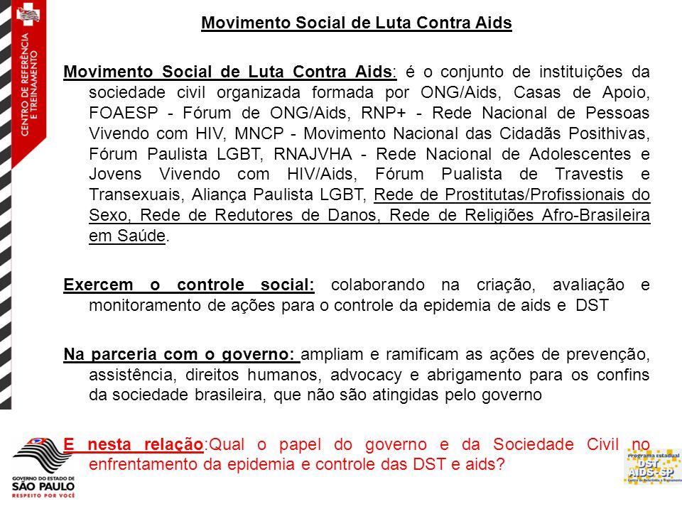 Movimento Social de Luta Contra Aids Movimento Social de Luta Contra Aids: é o conjunto de instituições da sociedade civil organizada formada por ONG/Aids, Casas de Apoio, FOAESP - Fórum de ONG/Aids, RNP+ - Rede Nacional de Pessoas Vivendo com HIV, MNCP - Movimento Nacional das Cidadãs Posithivas, Fórum Paulista LGBT, RNAJVHA - Rede Nacional de Adolescentes e Jovens Vivendo com HIV/Aids, Fórum Pualista de Travestis e Transexuais, Aliança Paulista LGBT, Rede de Prostitutas/Profissionais do Sexo, Rede de Redutores de Danos, Rede de Religiões Afro-Brasileira em Saúde.