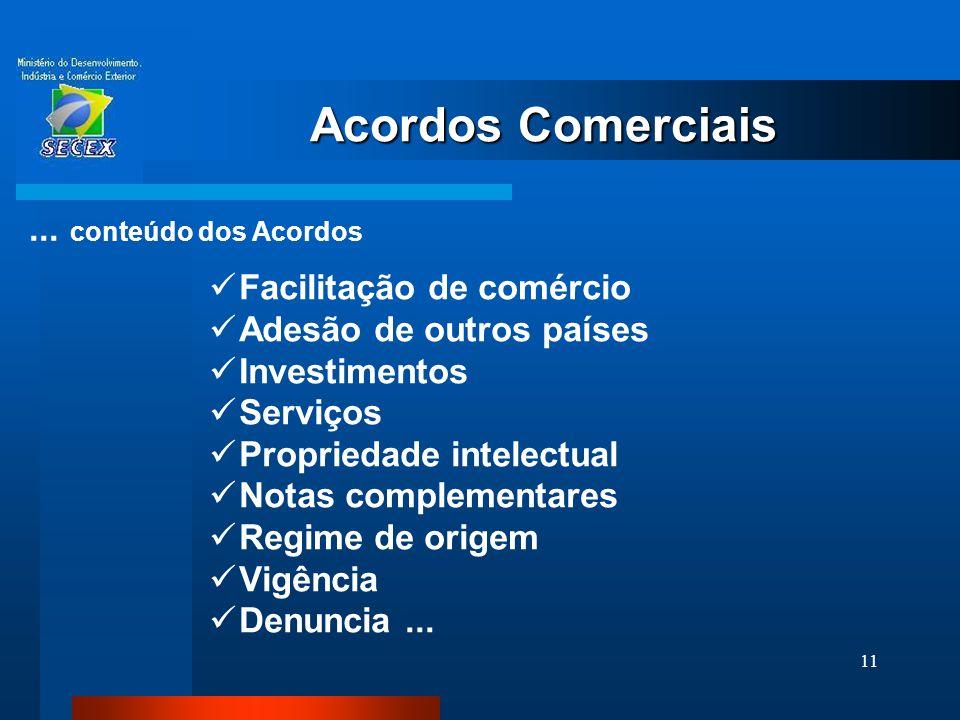 11  Facilitação de comércio  Adesão de outros países  Investimentos  Serviços  Propriedade intelectual  Notas complementares  Regime de origem