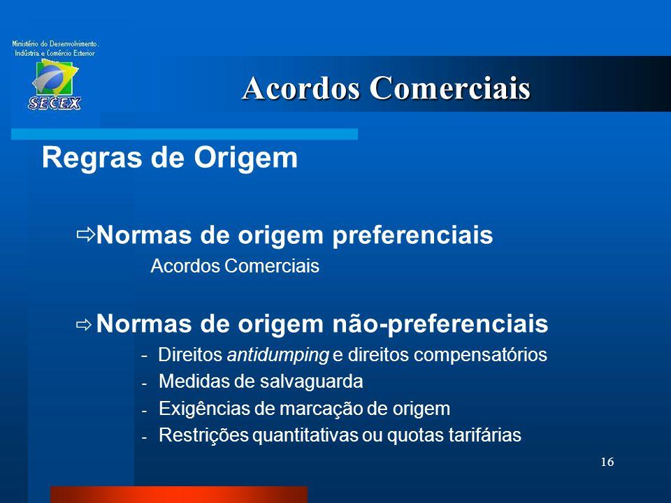 16 Acordos Comerciais Regras de Origem  Normas de origem preferenciais Acordos Comerciais  Normas de origem não-preferenciais - Direitos antidumping