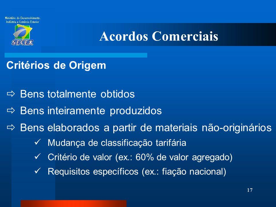 17 Acordos Comerciais Critérios de Origem  Bens totalmente obtidos  Bens inteiramente produzidos  Bens elaborados a partir de materiais não-originá