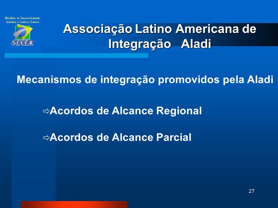 27 Associação Latino Americana de Integração Aladi Mecanismos de integração promovidos pela Aladi  Acordos de Alcance Regional  Acordos de Alcance P