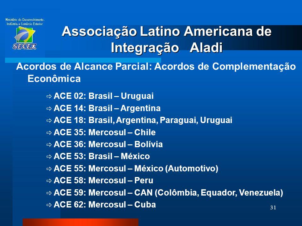 31 Associação Latino Americana de Integração Aladi Acordos de Alcance Parcial: Acordos de Complementação Econômica  ACE 02: Brasil – Uruguai  ACE 14