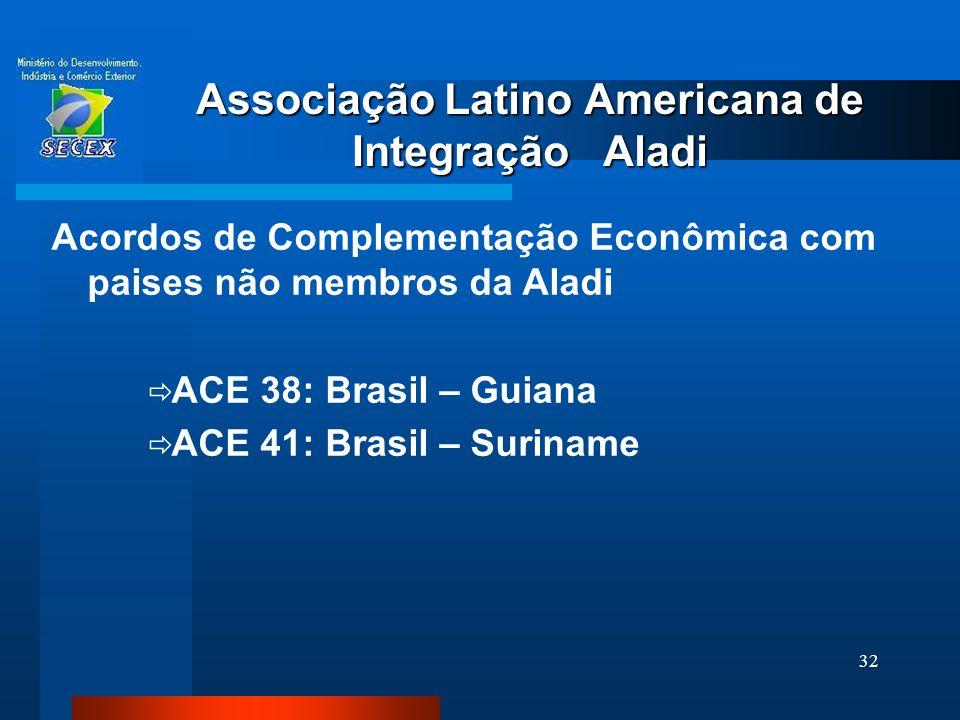 32 Associação Latino Americana de Integração Aladi Acordos de Complementação Econômica com paises não membros da Aladi  ACE 38: Brasil – Guiana  ACE