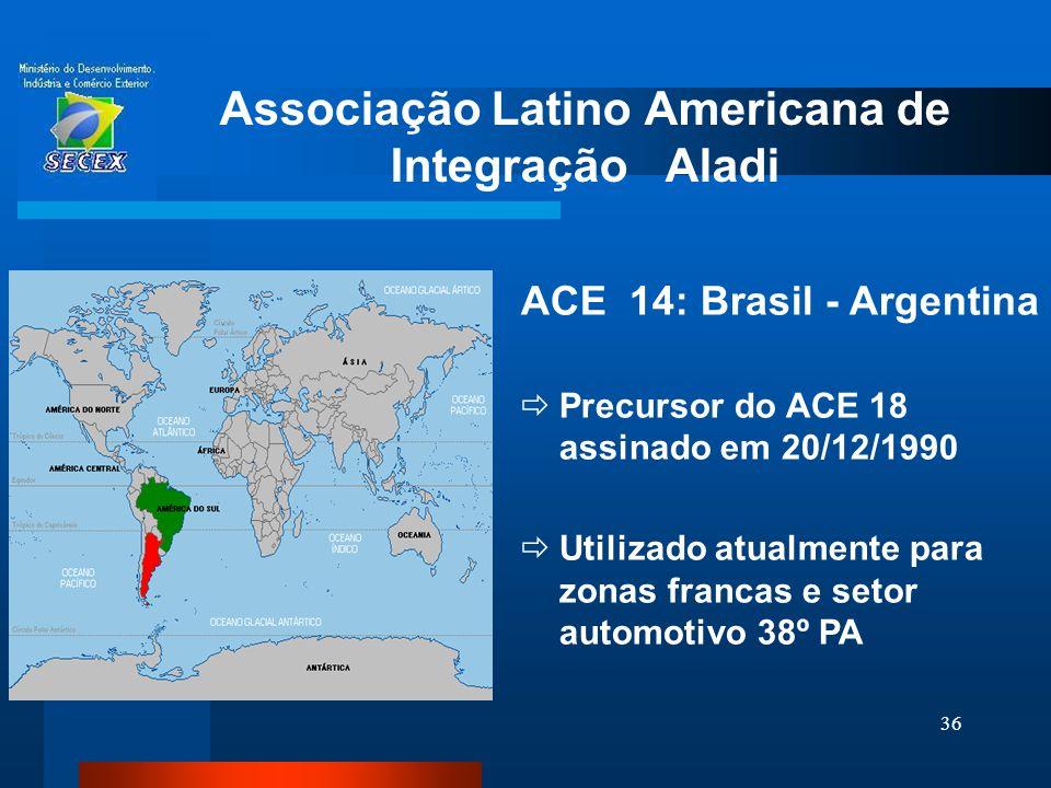 36 Associação Latino Americana de Integração Aladi ACE 14: Brasil - Argentina  Precursor do ACE 18 assinado em 20/12/1990  Utilizado atualmente para