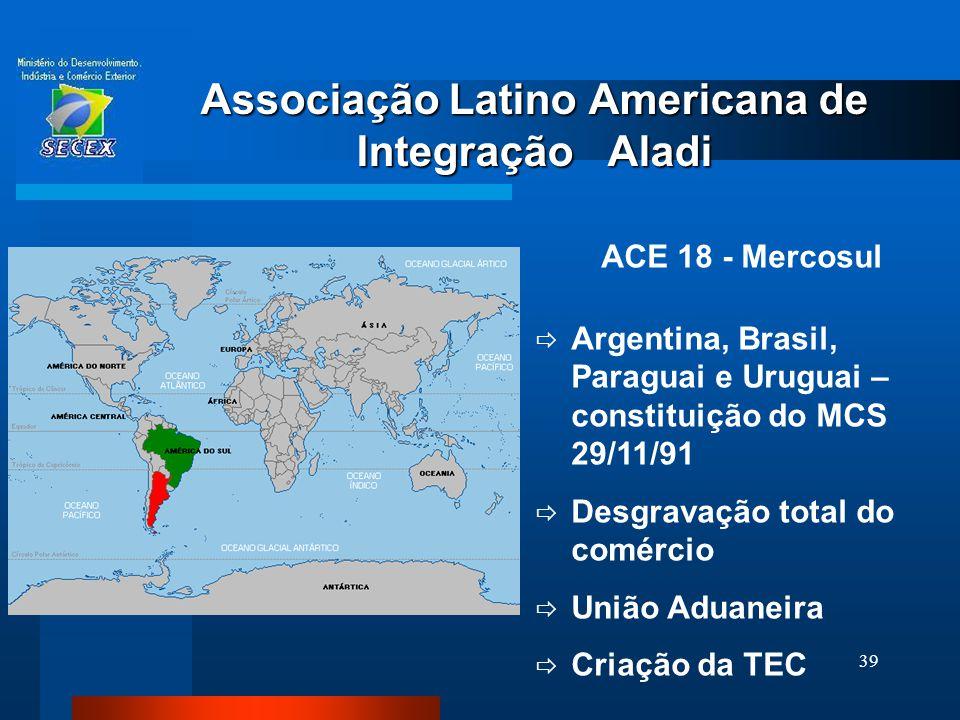 39 Associação Latino Americana de Integração Aladi ACE 18 - Mercosul  Argentina, Brasil, Paraguai e Uruguai – constituição do MCS 29/11/91  Desgrava