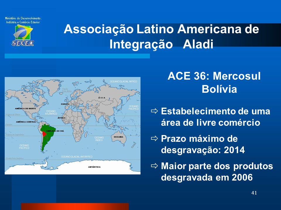 41 Associação Latino Americana de Integração Aladi ACE 36: Mercosul Bolívia  Estabelecimento de uma área de livre comércio  Prazo máximo de desgrava