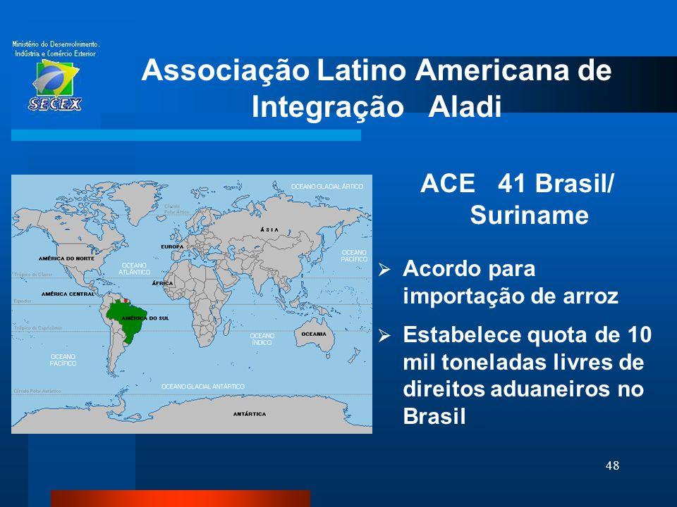 48 Associação Latino Americana de Integração Aladi ACE 41 Brasil/ Suriname  Acordo para importação de arroz  Estabelece quota de 10 mil toneladas li