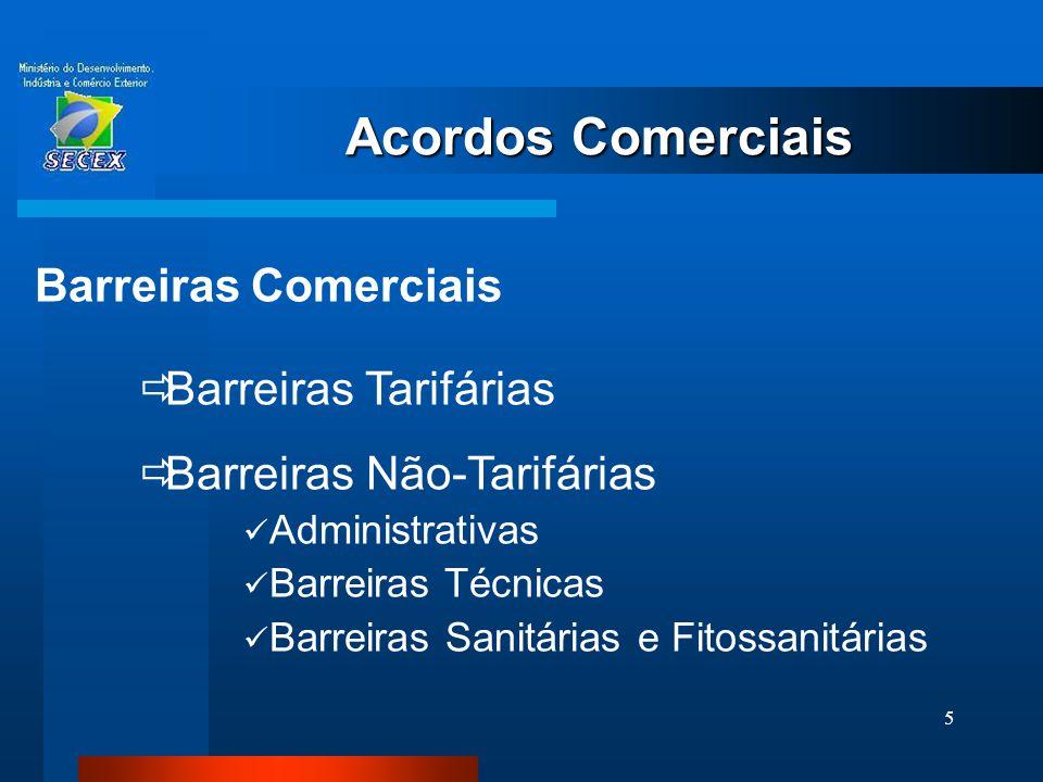 6 Acordos Comerciais Barreiras Tarifárias  Aplicam-se sobre o Imposto de Importação  Podem ser  Ad Valorem (20% sobre o valor do bem)  Específicas (US$ 15/t)  Mistas (20% + US$ 15/t)  Compostas (Impostas sobre os insumos de produto manufaturado)