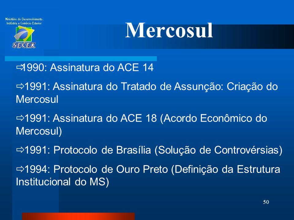 50 Mercosul  1990: Assinatura do ACE 14  1991: Assinatura do Tratado de Assunção: Criação do Mercosul  1991: Assinatura do ACE 18 (Acordo Econômico