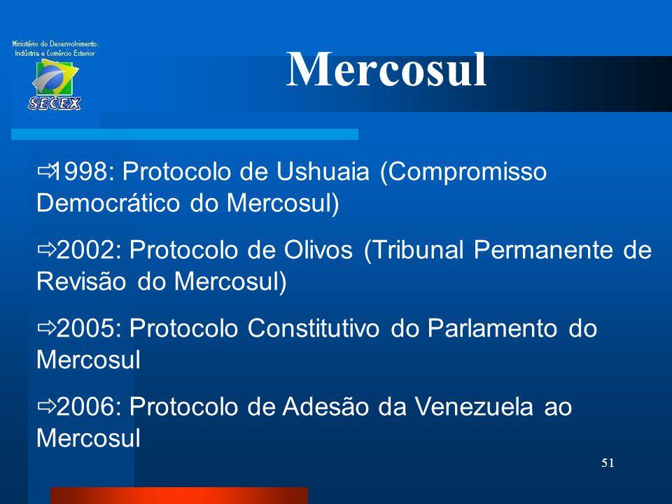 51 Mercosul  1998: Protocolo de Ushuaia (Compromisso Democrático do Mercosul)  2002: Protocolo de Olivos (Tribunal Permanente de Revisão do Mercosul