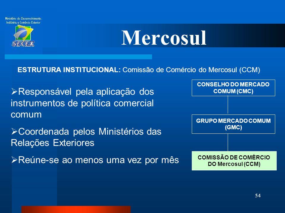 54 Mercosul ESTRUTURA INSTITUCIONAL: Comissão de Comércio do Mercosul (CCM) CONSELHO DO MERCADO COMUM (CMC) GRUPO MERCADO COMUM (GMC)  Responsável pe