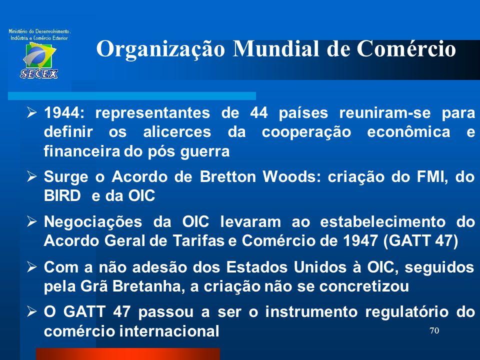 70 Organização Mundial de Comércio  1944: representantes de 44 países reuniram-se para definir os alicerces da cooperação econômica e financeira do p