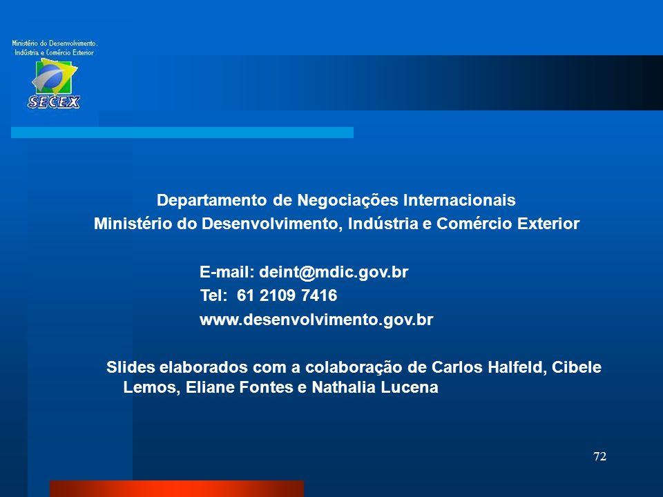 72 Departamento de Negociações Internacionais Ministério do Desenvolvimento, Indústria e Comércio Exterior E-mail: deint@mdic.gov.br Tel: 61 2109 7416