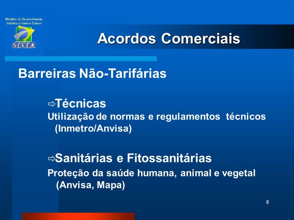 8 Acordos Comerciais Barreiras Não-Tarifárias  Técnicas Utilização de normas e regulamentos técnicos (Inmetro/Anvisa)  Sanitárias e Fitossanitárias