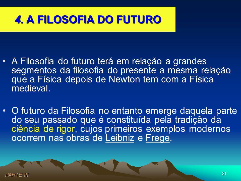 21 •A Filosofia do futuro terá em relação a grandes segmentos da filosofia do presente a mesma relação que a Física depois de Newton tem com a Física