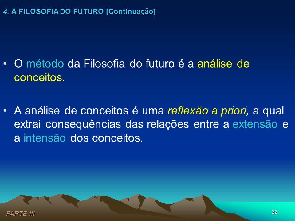 22 4. A FILOSOFIA DO FUTURO [Continuação] •O método da Filosofia do futuro é a análise de conceitos. •A análise de conceitos é uma reflexão a priori,