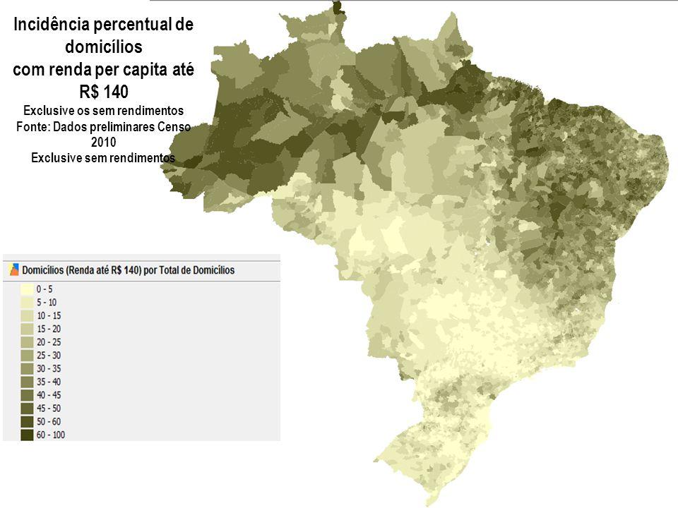 Incidência percentual de domicílios com renda per capita até R$ 140 Exclusive os sem rendimentos Fonte: Dados preliminares Censo 2010 Exclusive sem rendimentos