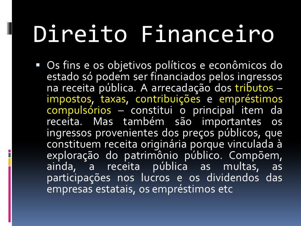 Direito Financeiro  Os fins e os objetivos políticos e econômicos do estado só podem ser financiados pelos ingressos na receita pública.