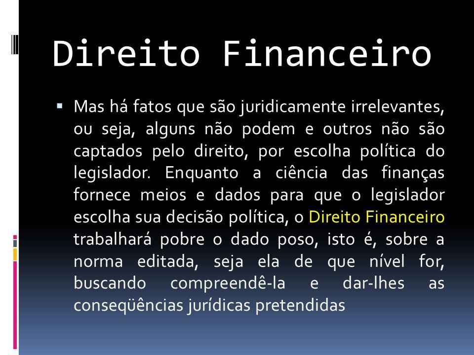 Direito Financeiro  Mas há fatos que são juridicamente irrelevantes, ou seja, alguns não podem e outros não são captados pelo direito, por escolha política do legislador.