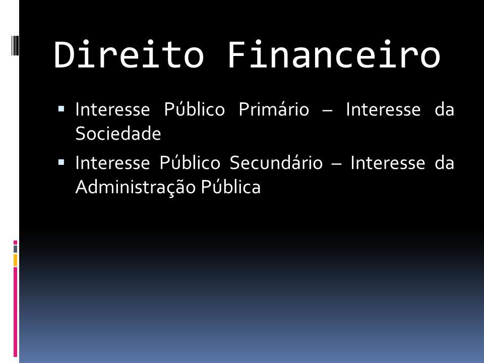 Direito Financeiro  Interesse Público Primário – Interesse da Sociedade  Interesse Público Secundário – Interesse da Administração Pública