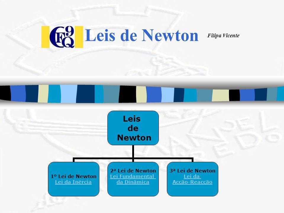 Filipa Vicente Leis de Newton Leis de Newton 1º Lei de Newton Lei da Inércia 2ª Lei de Newton Lei Fundamental da Dinâmica 3ª Lei de Newton Lei da Acçã