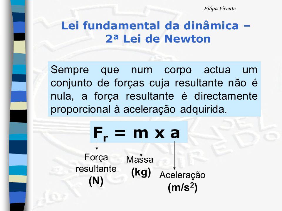 Filipa Vicente Lei fundamental da dinâmica – 2ª Lei de Newton Sempre que num corpo actua um conjunto de forças cuja resultante não é nula, a força res
