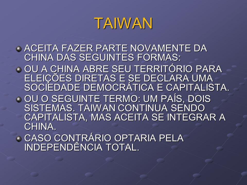 TAIWAN COM UMA SITUAÇÃO POLÍTICA INDEFINIDA, DESDE QUE OS COMUNISTAS TOMARAM O PODER NA CHINA EM 1949. CARACTERIZA-SE PELA PRODUÇÃO DE ELETROELETRÔNIC