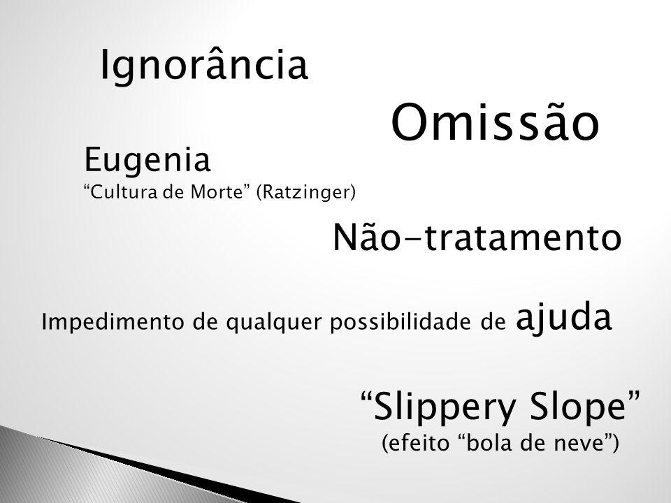 """Ignorância Omissão """"Slippery Slope"""" (efeito """"bola de neve"""") Eugenia """"Cultura de Morte"""" (Ratzinger) Não-tratamento Impedimento de qualquer possibilidad"""