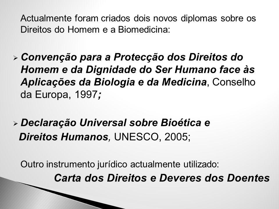  Actualmente foram criados dois novos diplomas sobre os Direitos do Homem e a Biomedicina:  Convenção para a Protecção dos Direitos do Homem e da Di