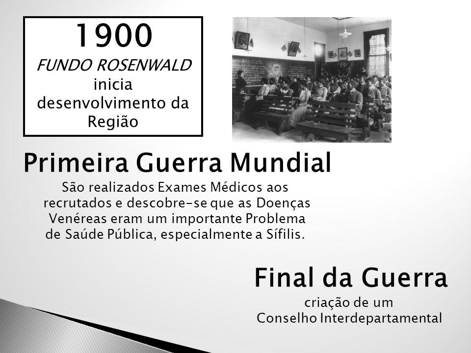 1900 FUNDO ROSENWALD inicia desenvolvimento da Região Primeira Guerra Mundial São realizados Exames Médicos aos recrutados e descobre-se que as Doença