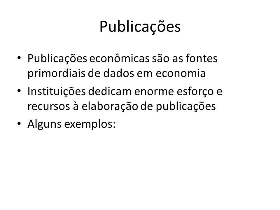 Publicações • Publicações econômicas são as fontes primordiais de dados em economia • Instituições dedicam enorme esforço e recursos à elaboração de publicações • Alguns exemplos: