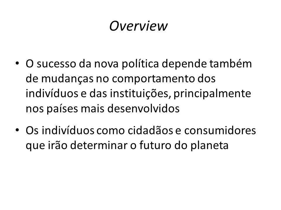 • O sucesso da nova política depende também de mudanças no comportamento dos indivíduos e das instituições, principalmente nos países mais desenvolvidos • Os indivíduos como cidadãos e consumidores que irão determinar o futuro do planeta Overview