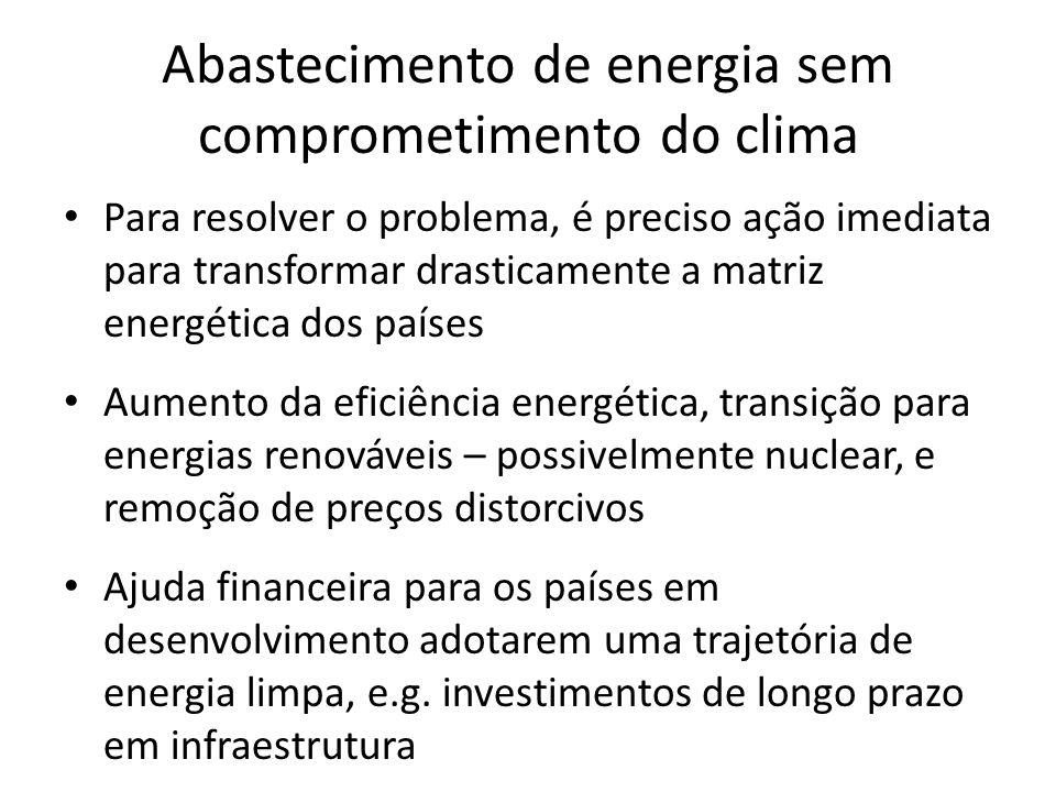 Abastecimento de energia sem comprometimento do clima • Para resolver o problema, é preciso ação imediata para transformar drasticamente a matriz energética dos países • Aumento da eficiência energética, transição para energias renováveis – possivelmente nuclear, e remoção de preços distorcivos • Ajuda financeira para os países em desenvolvimento adotarem uma trajetória de energia limpa, e.g.