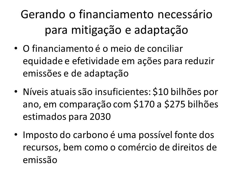 Gerando o financiamento necessário para mitigação e adaptação • O financiamento é o meio de conciliar equidade e efetividade em ações para reduzir emissões e de adaptação • Níveis atuais são insuficientes: $10 bilhões por ano, em comparação com $170 a $275 bilhões estimados para 2030 • Imposto do carbono é uma possível fonte dos recursos, bem como o comércio de direitos de emissão