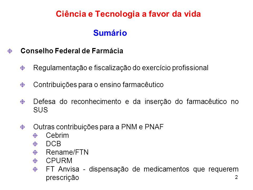 2 Sumário Conselho Federal de Farmácia Regulamentação e fiscalização do exercício profissional Contribuições para o ensino farmacêutico Defesa do reco