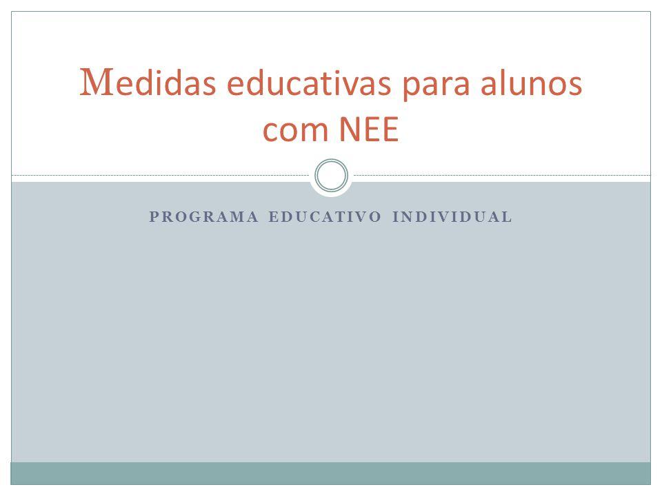 PROGRAMA EDUCATIVO INDIVIDUAL M edidas educativas para alunos com NEE