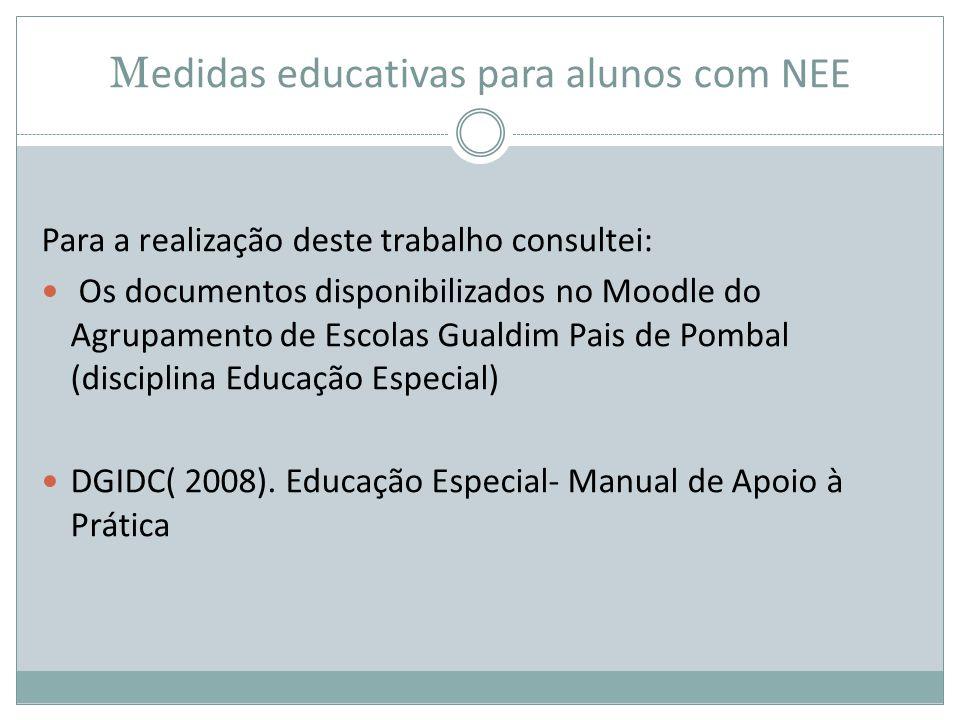 M edidas educativas para alunos com NEE Para a realização deste trabalho consultei:  Os documentos disponibilizados no Moodle do Agrupamento de Escol