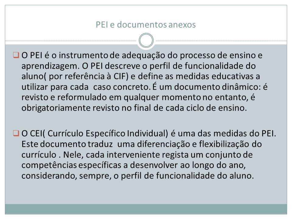 PEI e documentos anexos  O PEI é o instrumento de adequação do processo de ensino e aprendizagem. O PEI descreve o perfil de funcionalidade do aluno(